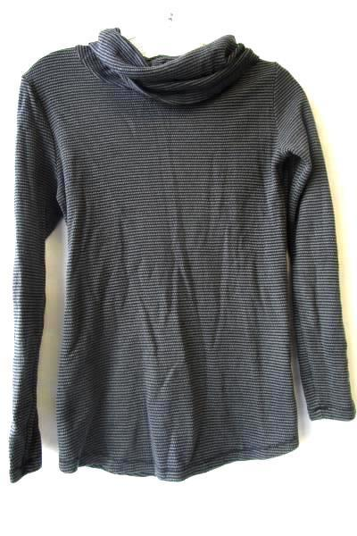 Women's Dark Long Sleeve Top By Eddie Bauer Size M Black Gray Striped