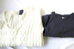 Lot of 2 Sweater &T-Shirt By Faded Glory-White Gap-Grey Women's Size L