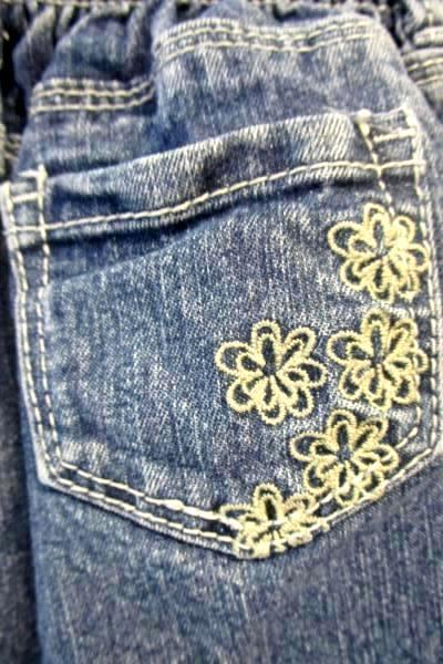 Little Girl's Blue Elastic Waist Jeans By Cherokee Size 18M Embroidered Flower