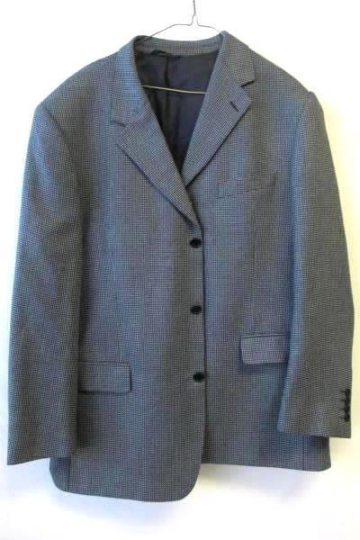 Men's Suit Jacket by Stefanno Arimondi  Dark Blue Gray White Size 44
