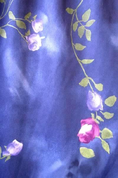 Women's Blue Floral Rose Silky Soft Skirt By Up Front Size M 100% Polyester