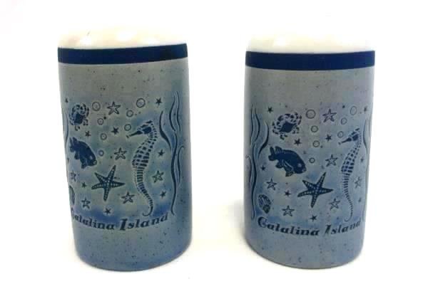 Vintage Catalina Island Salt & Pepper Shakers Blue & White Sea Pattern