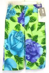 Girls Capri Pants by Scrambled Girl Nordstrom Green Purple Floral Print Size 8