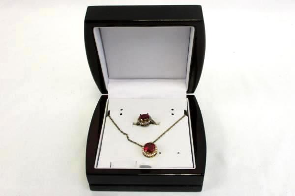 "Ruby Box Set 18"" Chain Pendent Ring Lab Created 14K Gold Over Brass"