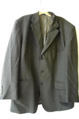 Men's Gray Beige Suit Jacket By Stafford Size 44R 100% Wool Padded Shoulders
