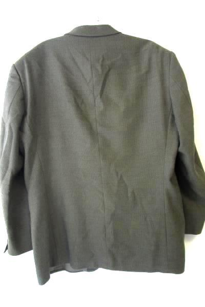 Men's Gray Beige Suit Jacket By Stafford Size 44R 100% Wool Padded Shoulders