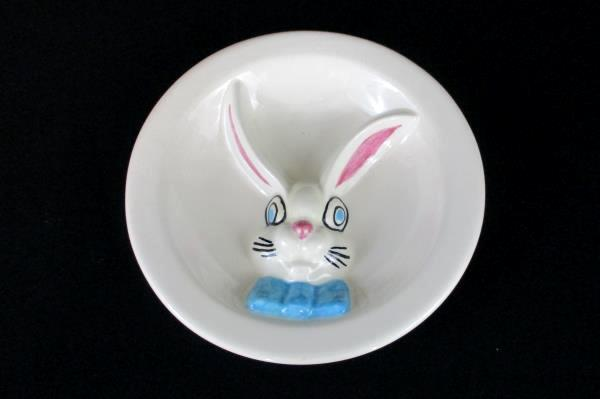 Bunny Rabbit Ceramic Divided Plate and Matching Double Handled Mug Easter Decor
