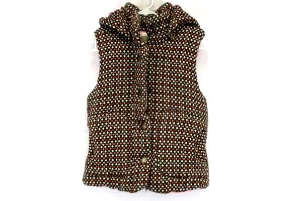 Women's Vest B's Closet Plush Pillowed Pink Lined Brown Geometric Camping Size L