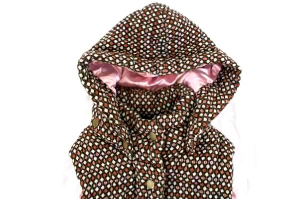 Women's Vest B's Closet Plush Pillowed Pink Lined Brown Geometric Camping Size L