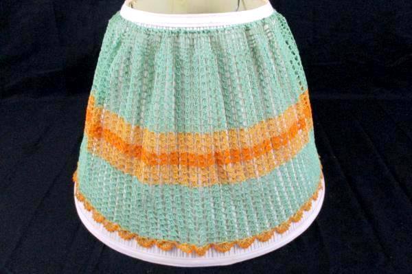 Vintage Lamp Cover Hand Crochet Green Gold With Drawstring EUC