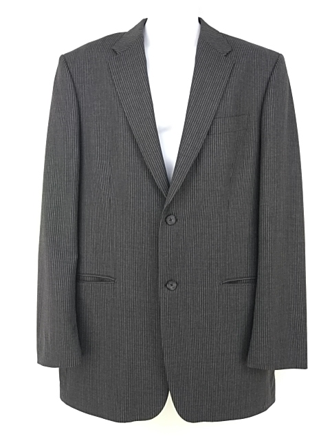 EXPRESS DESIGN STUDIO Blazer Charcoal Gray Pinstripe Wool Blend Suit Jacket 44L