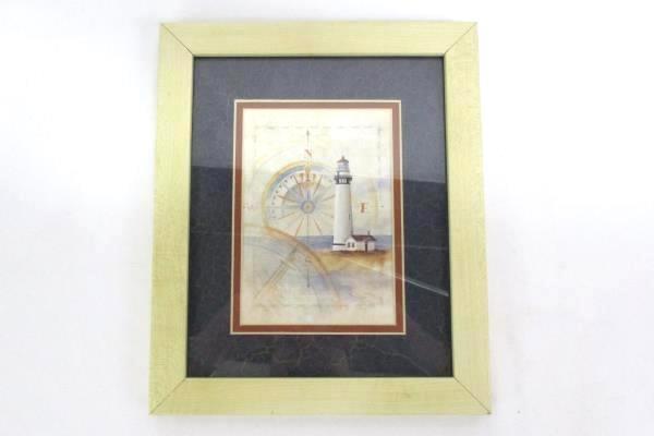 "Two 11.5"" x 9.5"" Martin Figlinski Framed Lighthouse Lithographs"