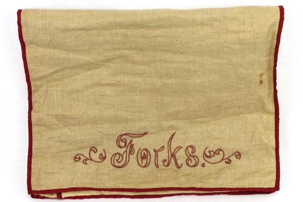 Vtg Retro Kitchen Red Cream Cloth Handmade Silverware Fork Embroidered Holder