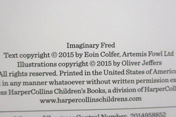 Imaginary Fred by Eoin Colfer First US Edition 2015, Hardcover