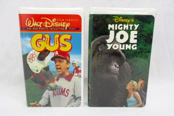 Lot Of 2 Disney VHS Family Movies Mighty Joe Young Don Knotts Gus Clam Shell