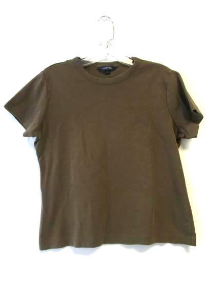 Women's Brown Short Sleeve Crew Neck Shirt By Lands' End Size 6-8 100% Cotton