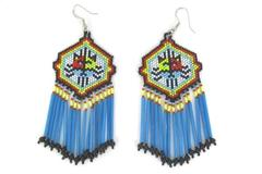 Southwestern Design Earrings Multicolored Beads Dangle Jewelry Handmade