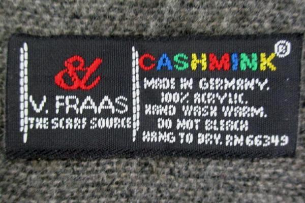 V. Fraas Cashmink NEW Gray Black White Mens One Size Plaid Fringe Hem Scarf