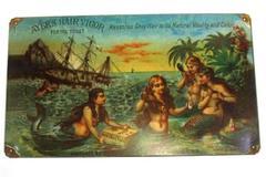 "Ayer's Hair Vigor Mermaids Long Hair Shipwreck Tin Advertising Sign 14"" x 8"""