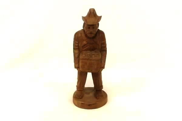 Costa Rican Wood Hand Carving Figure Sculpture Man Holding a Basket Cowboy Hat