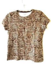 Women's White Brown Top Shirt By St.John's Bay Size Petite Small 100% Cotton
