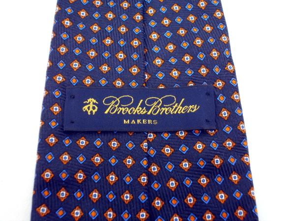 BROOKS BROTHERS Makers 100% Silk Twill Neck Tie Navy Blue Tile Print