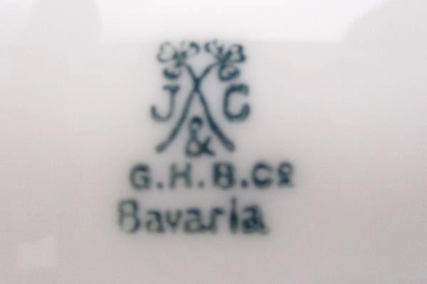 "Vintage J & C GHBC Hand Painted Flower Plate Bavaria Germany 9.75"" Diameter"
