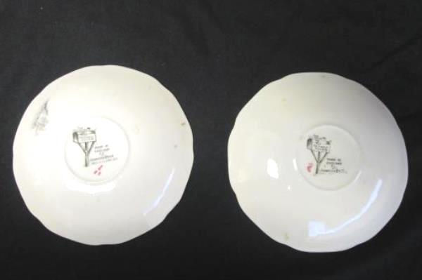 """Vintage The Friendly Village Johnson Bros Set Of 2 """"Ice House"""" Saucers Floral"""