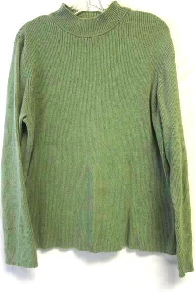 Women's Green Collared Long Sleeve Pullover Sweater Top By Karen Scott Sz Large