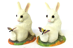 Two Limited Edition Hudson Porcelain Rabbits With Butterflies On Their Tails