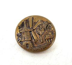 "Vintage 3/4"" Brass Metal Dutch Windmill Relief Picture Button"