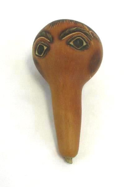 "4.5"" Tall Painted And Carved Face Peruvian Gourd Signed Evaristo Medina"