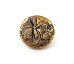 "Vintage 1/2"" Brass Metal Dutch Windmill Relief Picture Button"