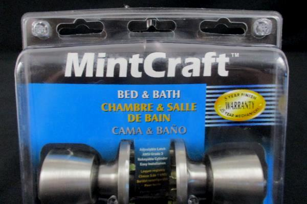 MintCraft Bed & Bath Door Knob Set Stainless Steel Finish Model TS610 NIP