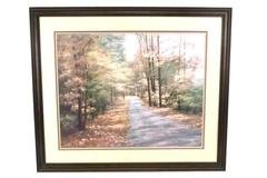 D. Romanello Forest Pathway Trees View Landscape Print 39x33 Frame Triple Matted