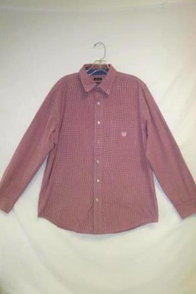 Red White Stripped Long Sleeves Full Button Up Shirt by Chaps Men's Size M