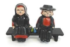 Vintage Miniature Hand Painted Cast Metal Amish Man Woman Couple On Bench