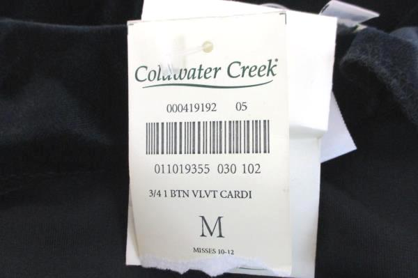 Women's Misses Sz 10-12 Coldwater Creek Black Velvet Cardigan Rhinestone Closure