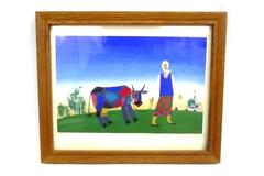 Framed 1994 Amish Woman Leading A Cow Print Evening Signed by Artist