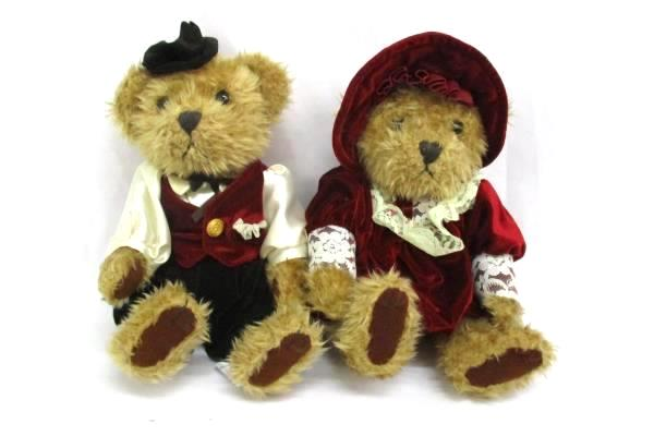 "Lot Of 2 J.C. Penney Teddy Bears 10"" Brown Plush Victorian Male Formal Attire"