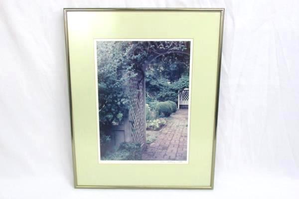 1988 Framed Matted English Garden Print Signed Tim Mahoney Flower Garden Brick