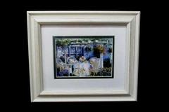 White Wood Framed Matted English Garden Dining Set Print Flower Table Chairs