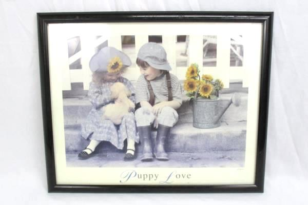 """17"""" x 21"""" Framed """"Puppy Love"""" Boy Girl Water Can Lithograph Signed Gail Good..."""