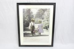 """21"""" x 17"""" Black Framed English Children Carrying A Basket Of Flowers Lithograph"""