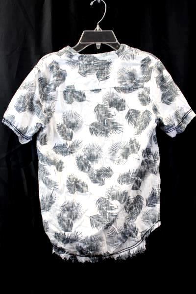 Art Class Junior Boys Quarter Button Up T-Shirt Green White Size Large 12-14
