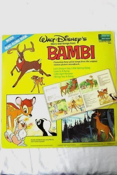 "1980 Walt Disney's Story and Songs From Bambi BOOK & RECORD 12"" 33RPM LP Vinyl"