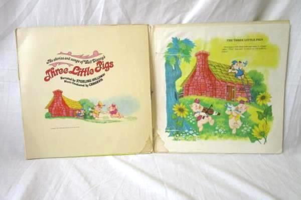 """The Story and Songs of Walt Disney's Three Little Pigs 12"""" LP w/ Book ST 3963"""