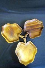 Lot of 3 Serving Wooden Leaf Shaped Ridged Texture Trays Platters Party