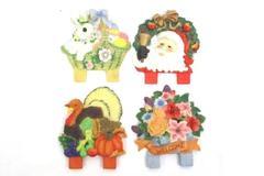 Lot 4 Retro Style Holiday Resin Garden Plant Plaque Art Sign Thanksgiving Santa