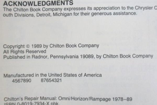 1989 Chilton Car Repair Manual For Omni Horizon Rampage 1978-89